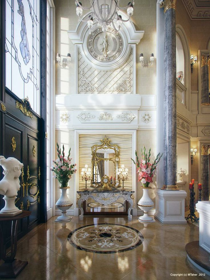 Stunning #foyer rendered by Egyptian #architect and #designer Muhammed Tahar.