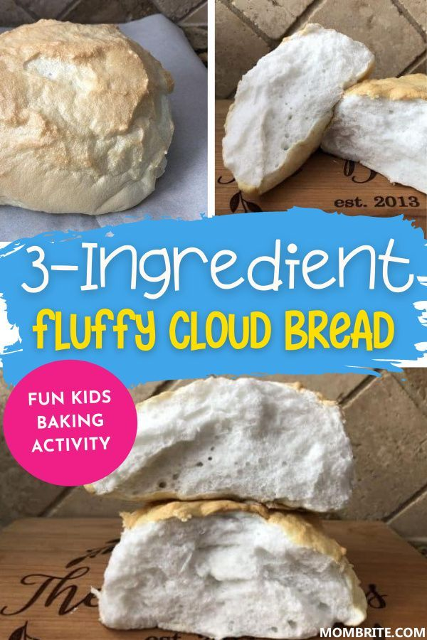 Fluffy 3 Ingredient Cloud Bread Mombrite In 2020 Cloud Bread Bread Baking With Kids