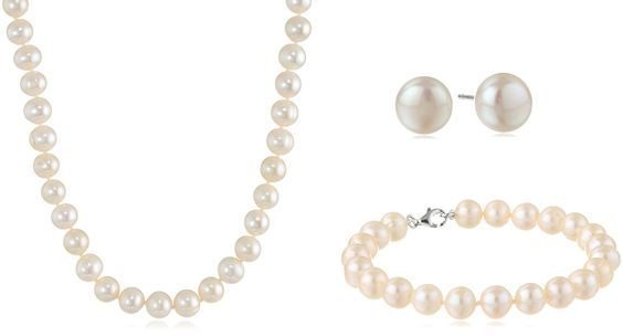 Sterling Silver White Freshwater Cultured Pearl Necklace, Bracelet and Earrings Jewelry Set (7-8mm) *** Check this awesome product by going to the link at the image.