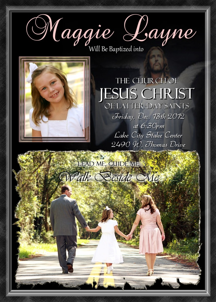 LDS Baptism Invitation Girls Personalized custom photo Invite Printable Digital File Announcement Latter Day Saints. $14.98, via Etsy.