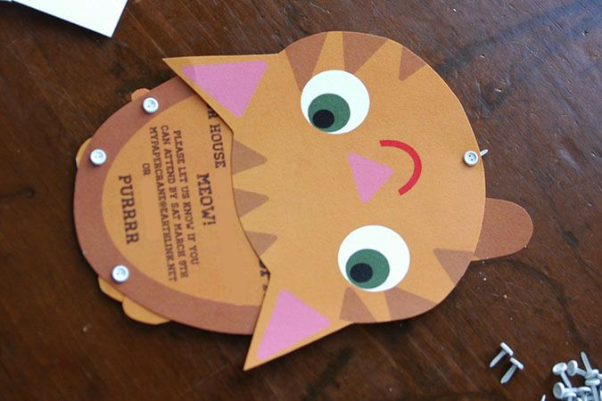 Crazy cute printable cat invites from My Paper Crane