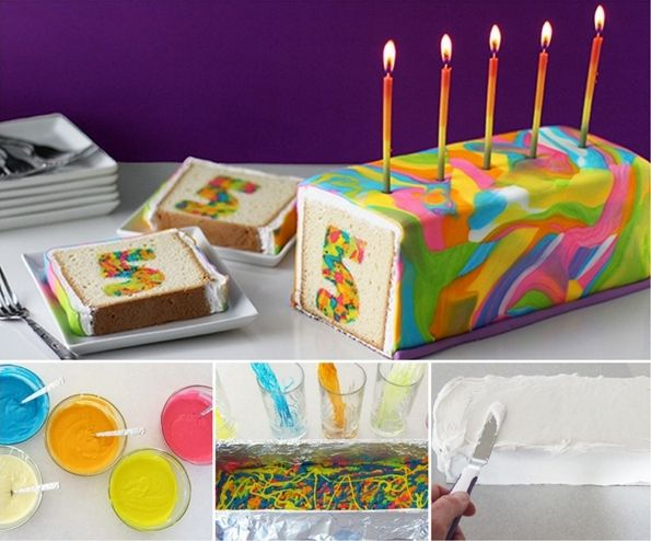This Rainbow Tie-Dye Number Surprise Cake is Just Fabulous