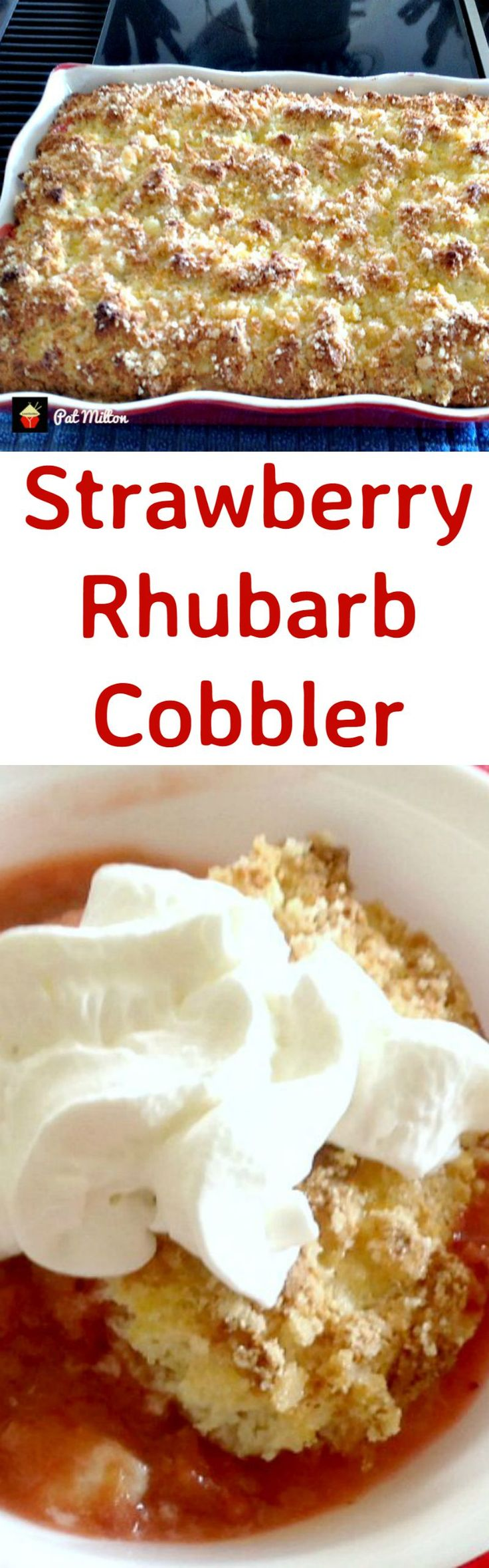 Strawberry Rhubarb Cobbler. This is a delicious dessert, and flexible with the fillings so you could swap the fruits to your choice! Great served warm with some whipped cream or ice cream and also freezer friendly. Yummy! | Lovefoodies.com