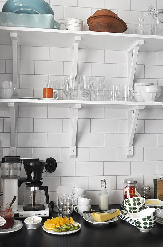 simple kitchen shelves/subway tiles