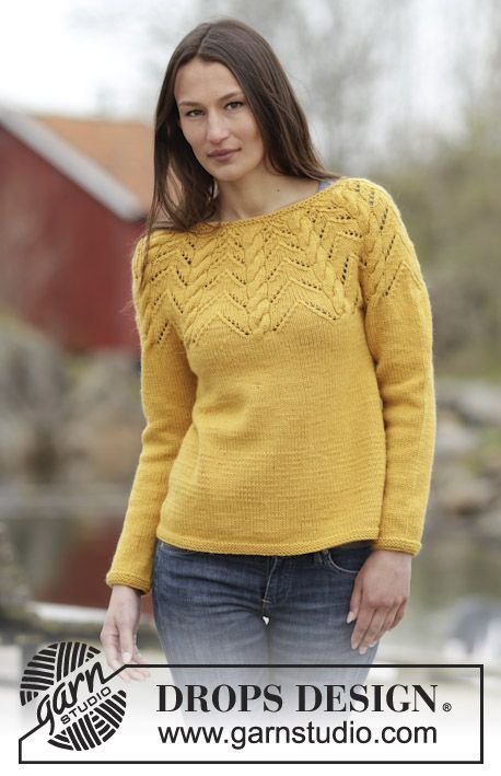 "Early Autumn - Palmikollinen DROPS kaarrokepusero ""Nepal""-langasta. Koot S-XXXL. - Free pattern by DROPS Design"
