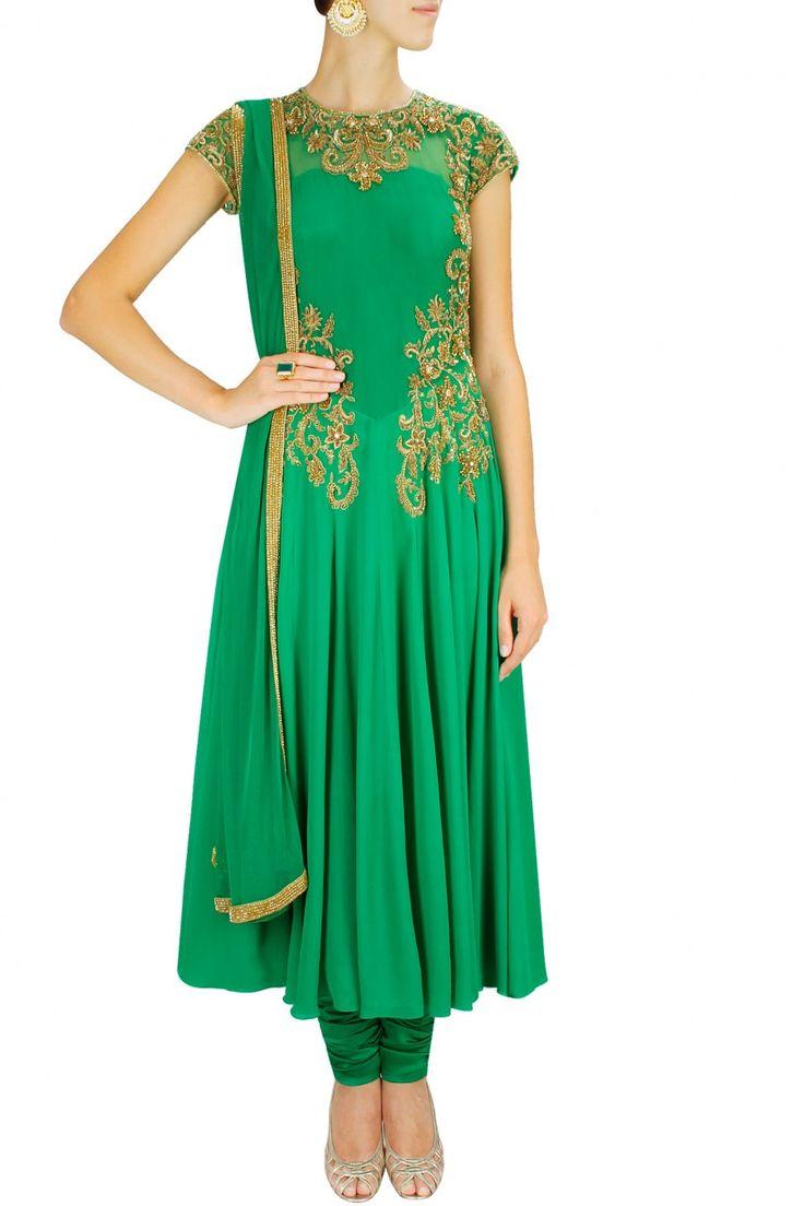 Emerald green floral pattern embroidered anarkali set. By MALASA. Shop designer now at www.perniaspopups... #designer #indian #stylish #shopnow #perniaspopupshop #happyshopping