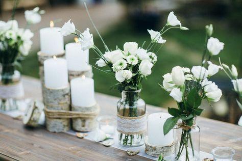 Eine Hochzeit im natürlichen Stil. Birkenholz, Jute und Spitze lassen