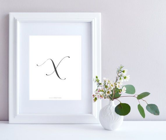 Initial X art print  Initial Print by LillyCreationJewelry on Etsy