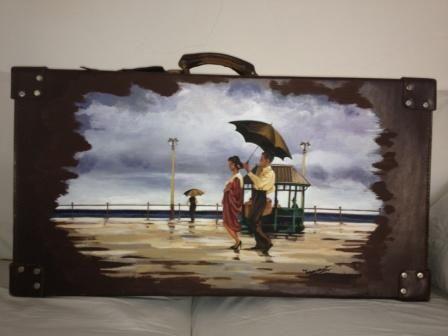 #Valigia dipinta a mano da Ivana Magri.Omaggio al pittore J.Vettriano www.ivanamagri.it ivanamagri@ivanamagri.it