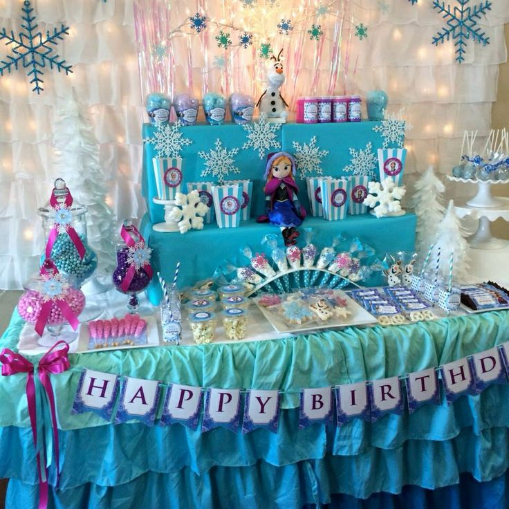 Frozen Party Table Decoration Birthday Ideas Pinterest