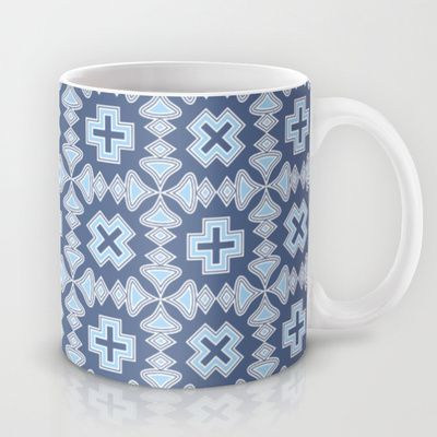 Veracruz Mug by Juliagrifol designs - $15.00 mug#geometric #pattern #coffee #blue #decoration #society6 #kitchen