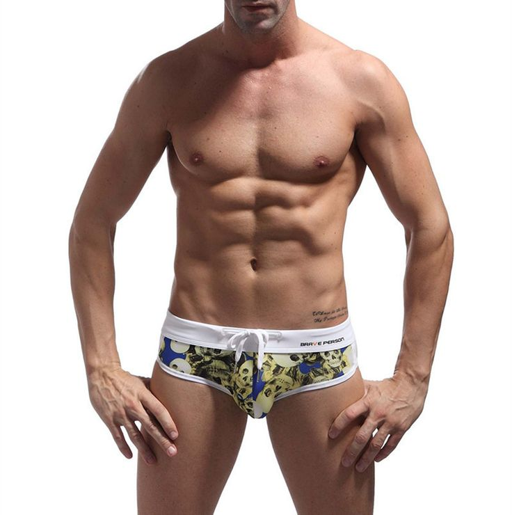 Men's Swimwear Briefs Slim Skull Print