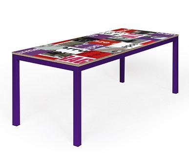 Table top made from upcycled building signs, each table is unique.   Reclameborden tafel gemaakt met hergebruikte bouwborden, elke tafel is uniek. http://tafel-design.nl/Reclametafel-p-16314.html