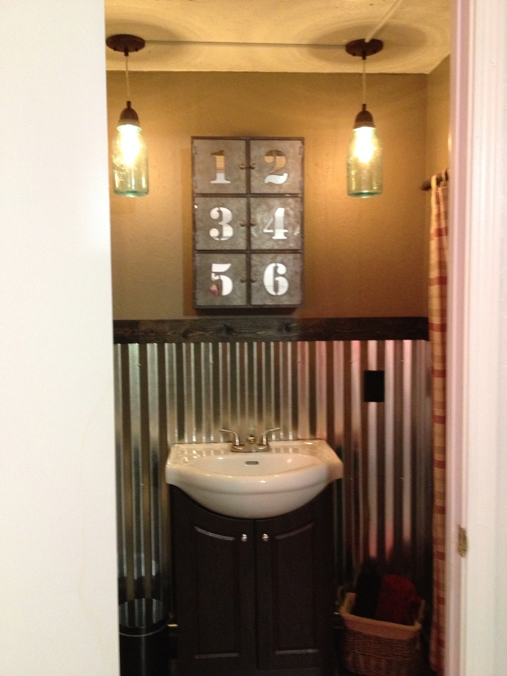 256 best images about corrugated metal on pinterest for Garage bathroom ideas