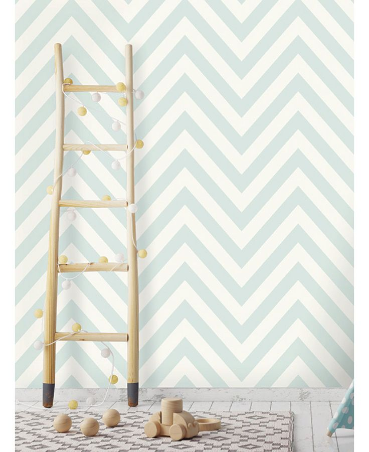 This Chevron Zig Zag Wallpaper features a simple yet striking soft teal and white chevron design. Free UK delivery available