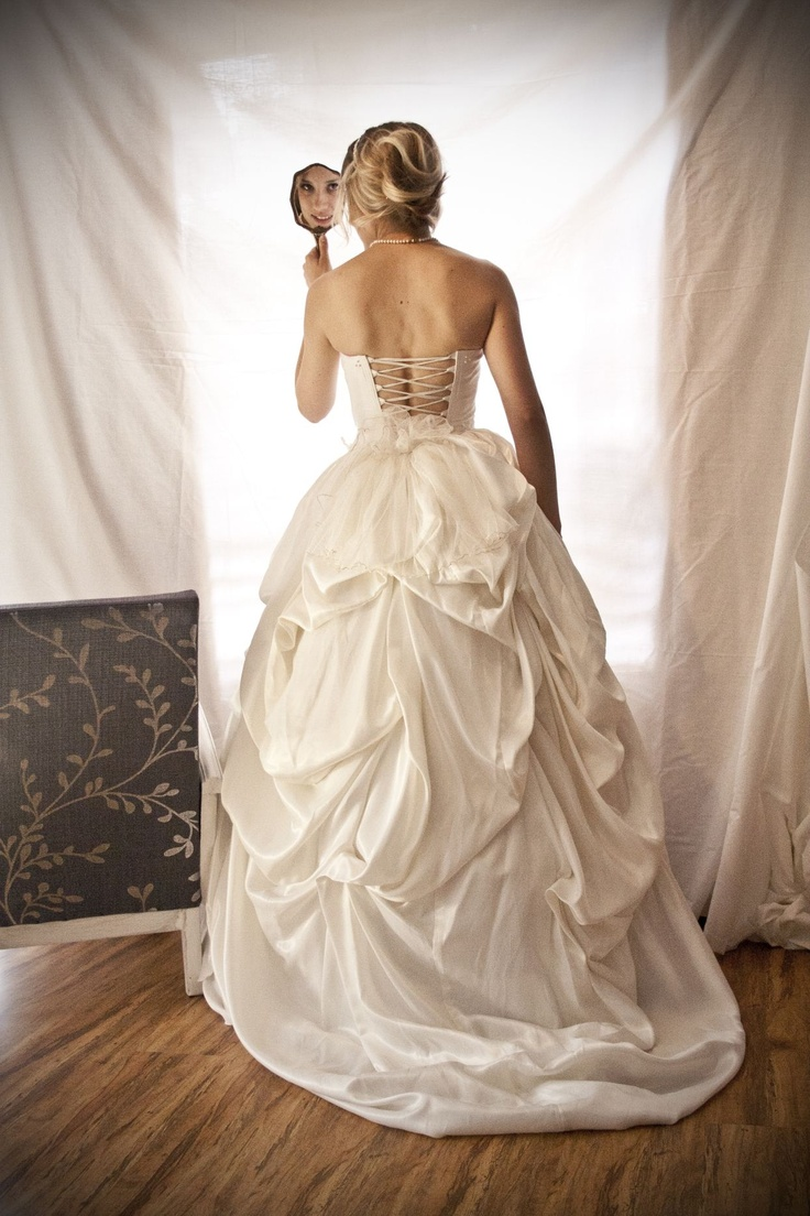 Taffeta gown with lace detail on bodice and pearl detail in bustle skirt - made with love by Aplomb Couture