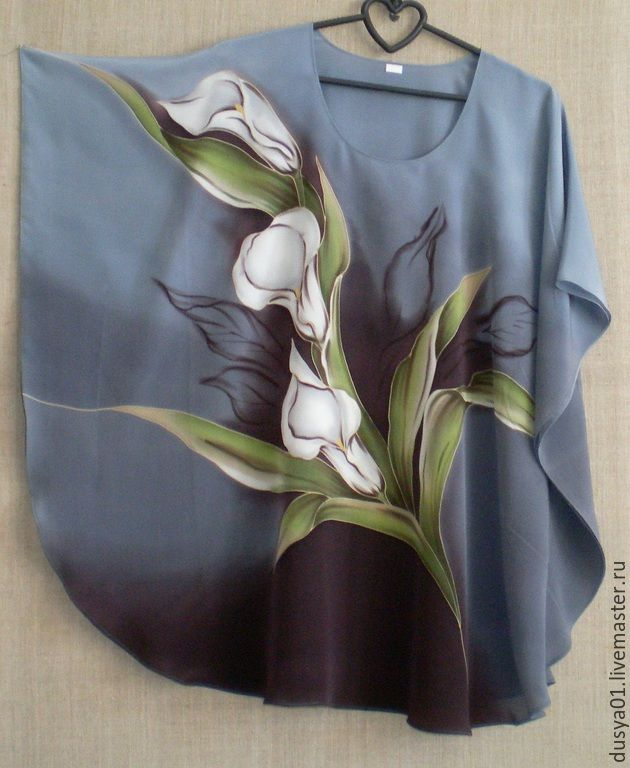 Купить Туника-Батик''Каллы'' - серый, цветочный, туника, блузка женская, Блуза летняя, калла, лето