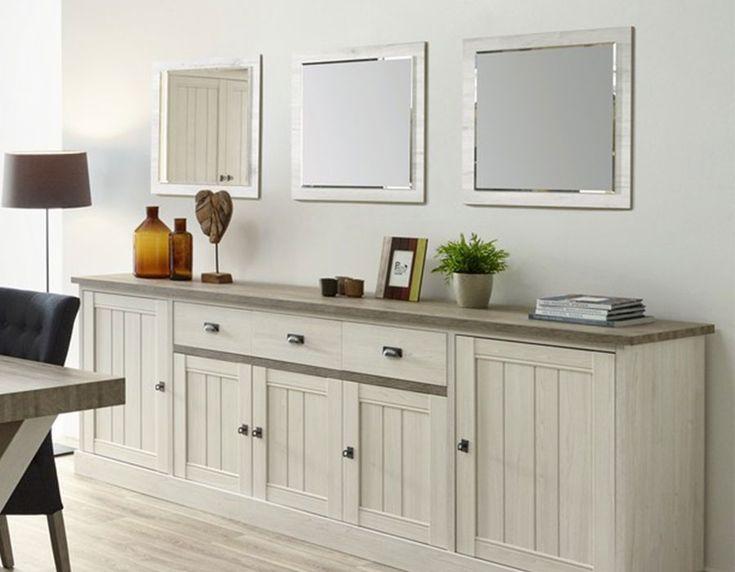 Miroir carré contemporain couleur chêne blanc JEANNE