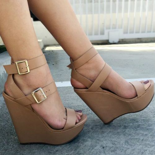 Nude Double Ankle Strap Wedges