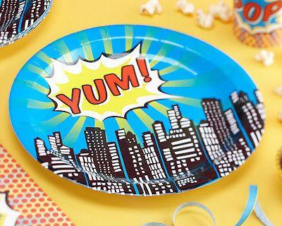Pop-Art-Superhero-Childrens-Birthday-Party-Tableware-Paper-Plates-8-Pack