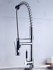 dæk monteret tilbagetrækning spray med keramisk ventil enkelt håndtag ét hul for krom, køkken vandhane – DKK kr. 7.090