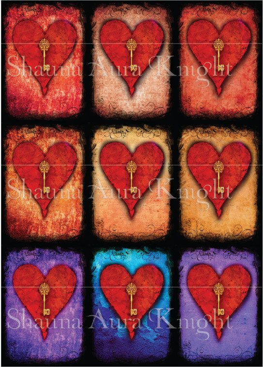 Valentine Key Hearts ATC 2.5 x 3.5 Inch by ShaunaAuraKnight
