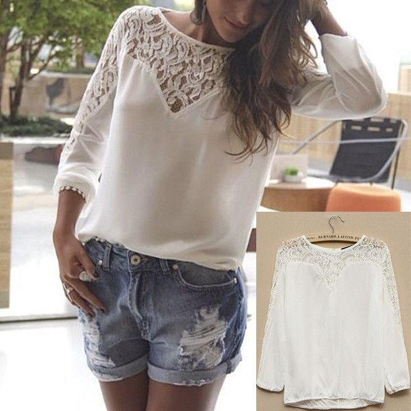 Camisa ocasional de la gasa de la blusa del cordón del ganchillo de manga larga Tops 2014 remiendo de la manera de las nuevas mujeres ropa blanca de la cremallera adelgazan en Blusas y Camisas de Moda y Complementos en AliExpress.com | Alibaba Group