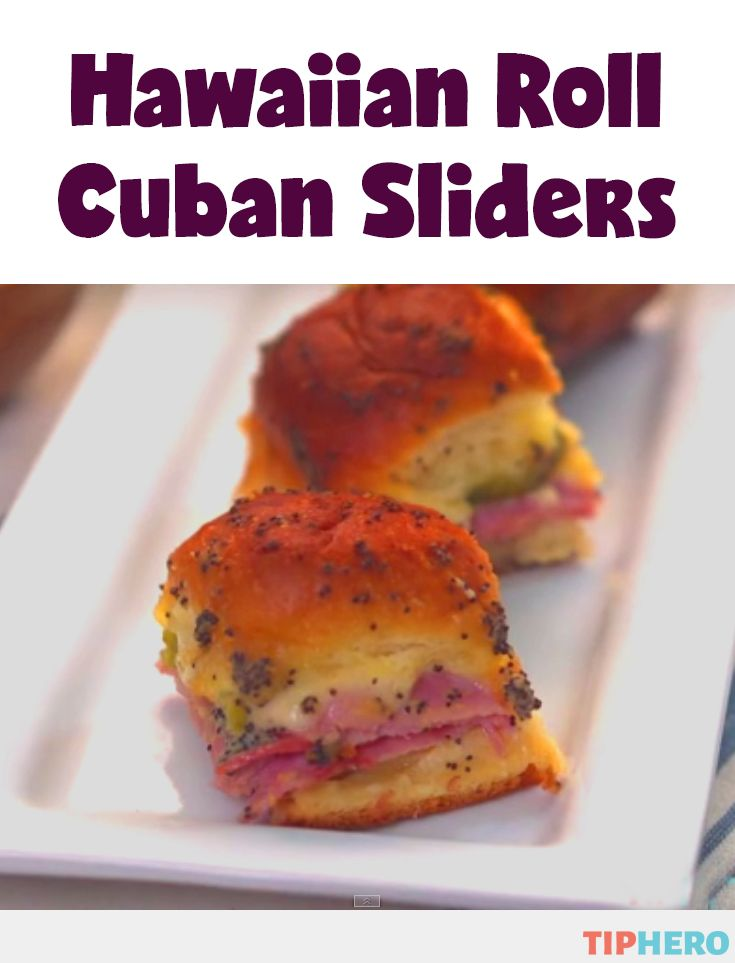Hawaiian Roll Cuban Sliders  - A tasty twist on sliders, Hawaiian Roll Cuban Sliders are a combo of ham, cheese, and pickles, baked on a warm, toasty Hawaiian roll  topped with a spread made of Dijon mustard, butter, poppy seeds and onion powder. Easy to whip up and sure to be a crowd-pleaser. Click for the how-to video and recipe.   #dinnertime #partyfood #hosting