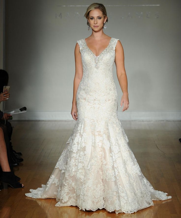 Allure fall 2016 wedding gown with V neckline and beaded straps, lace bodice and elegant lace fit and flare skirt | https://www.theknot.com/content/allure-wedding-dresses-bridal-fashion-week-fall-2016