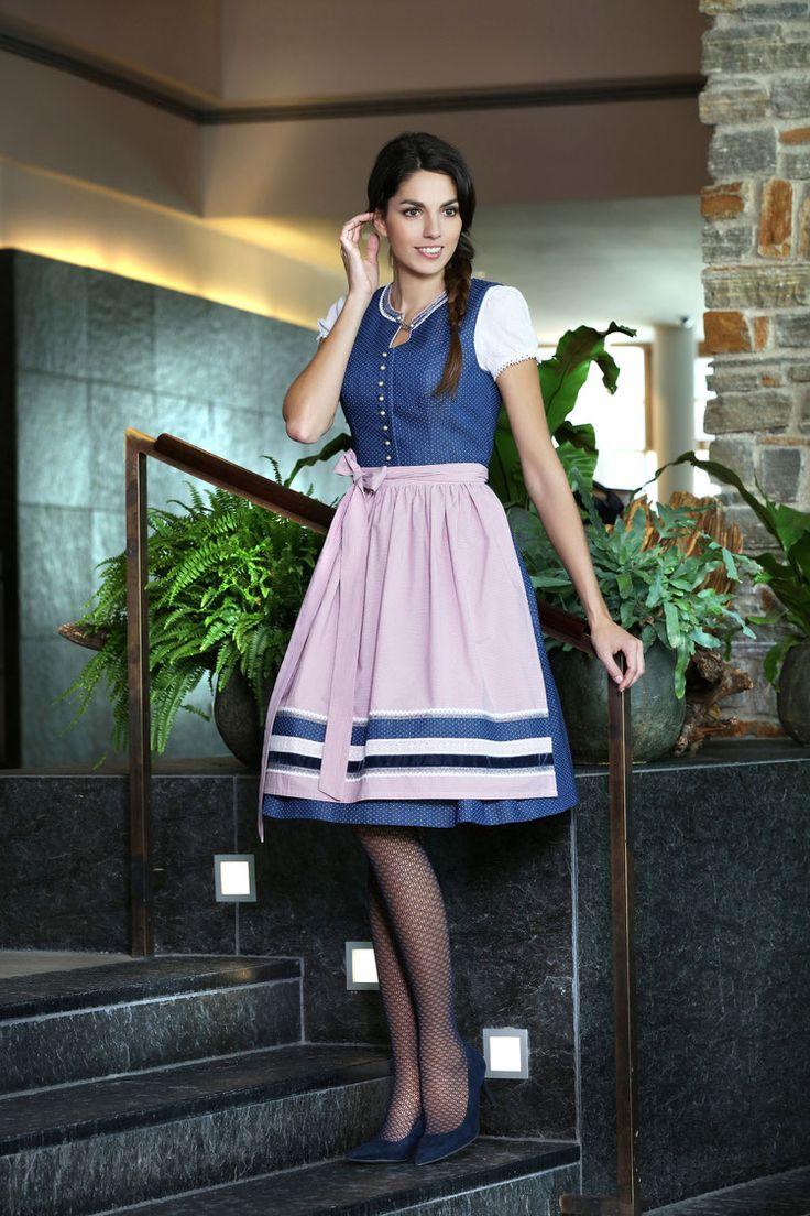 Country Line Dirndl dunkelblau / rosa mit Zierknopfleiste Rundhalsausschnitt und Zierkettchen-Brosche   S❤