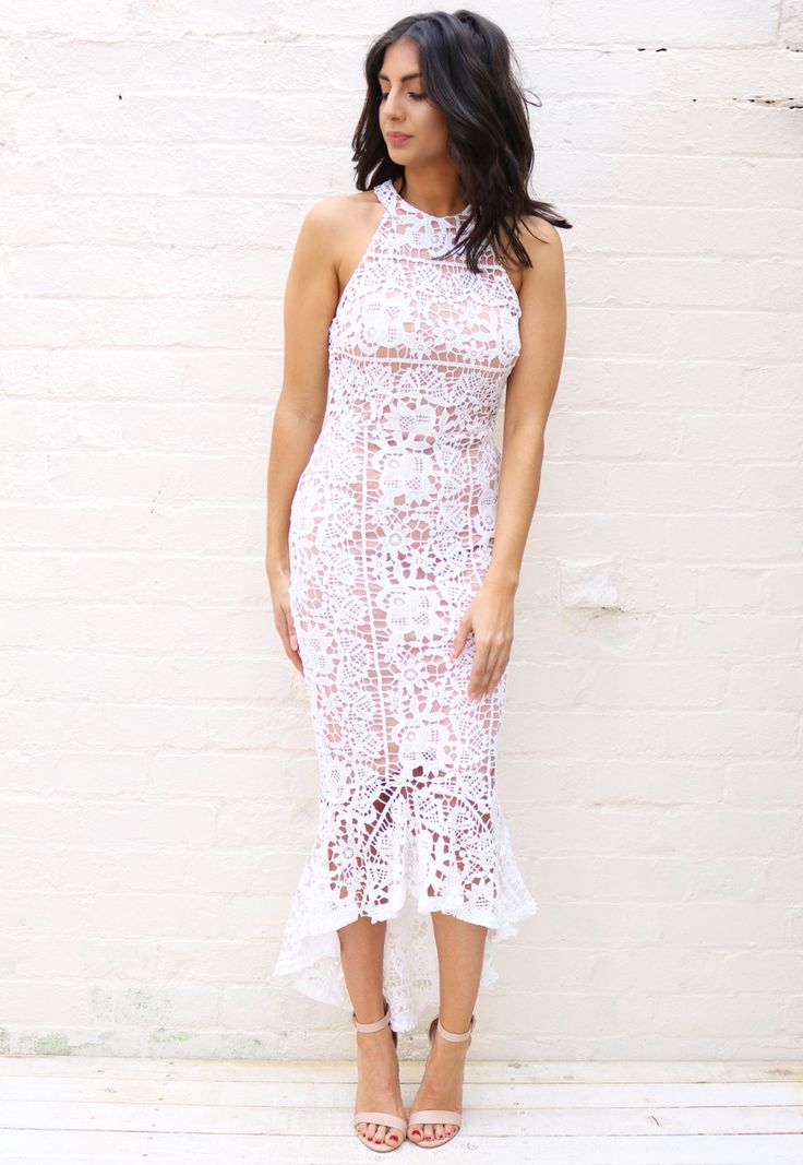 High Neck Cutaway Shoulder Lace Midi Dress with Fishtail Frill Hem in White & Nude