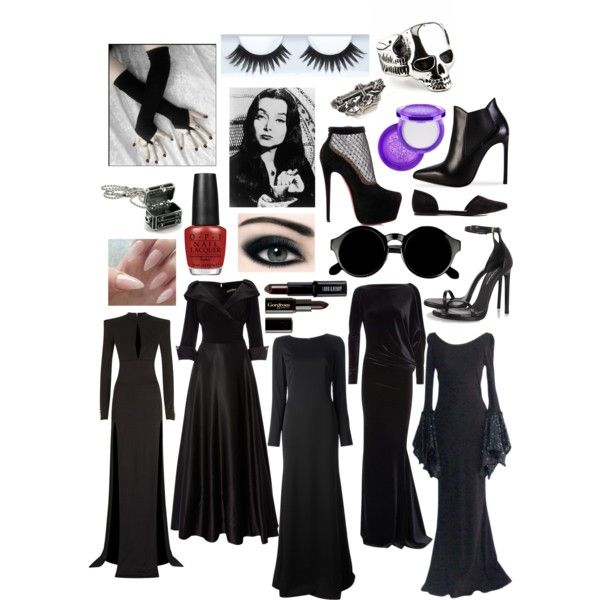 Modern Morticia Addams by allysonkrystyne on Polyvore featuring Balmain, Eliza J, Emilio Pucci, Talbot Runhof, Yves Saint Laurent, Christian Louboutin, King Baby Studio, REGENCY, Monsieur and Gorgeous Cosmetics