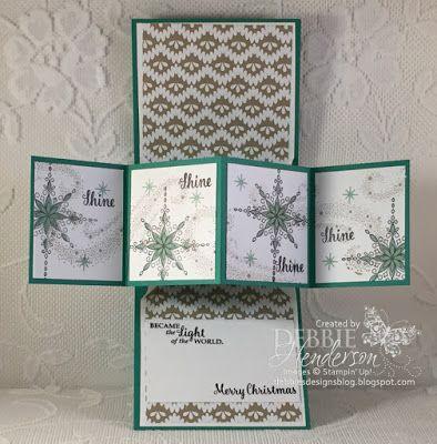 Debbie's Designs: New Video, Twist Pop Up Card Fold using Stampin' Up! Star Of Light, Starlight Thinlits Dies and Candy Cane Lane DSP. Debbie Henderson. #stampinup #staroflight #twistpopupcardfold