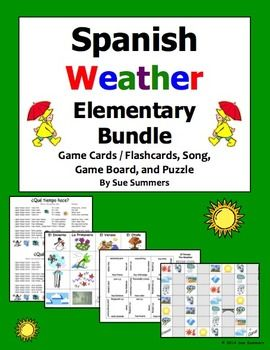 Spanish Weather Bundle for Elementary - Game Cards, Board Game, Puzzle, and Song by Sue Summers