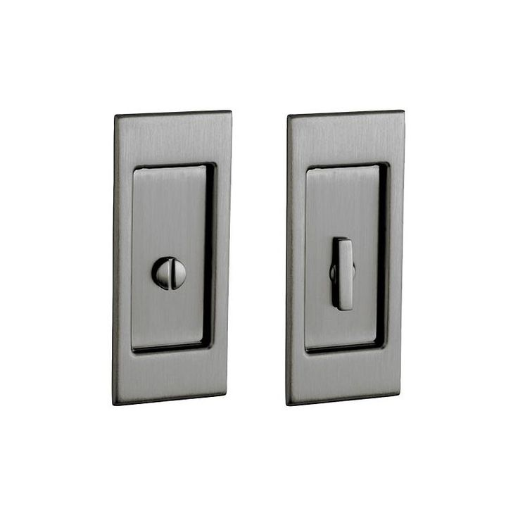 Baldwin PD006.PRIV Santa Monica Privacy Pocket Door Set with Door Pull from the Antique Nickel Pocket Door Lock Privacy