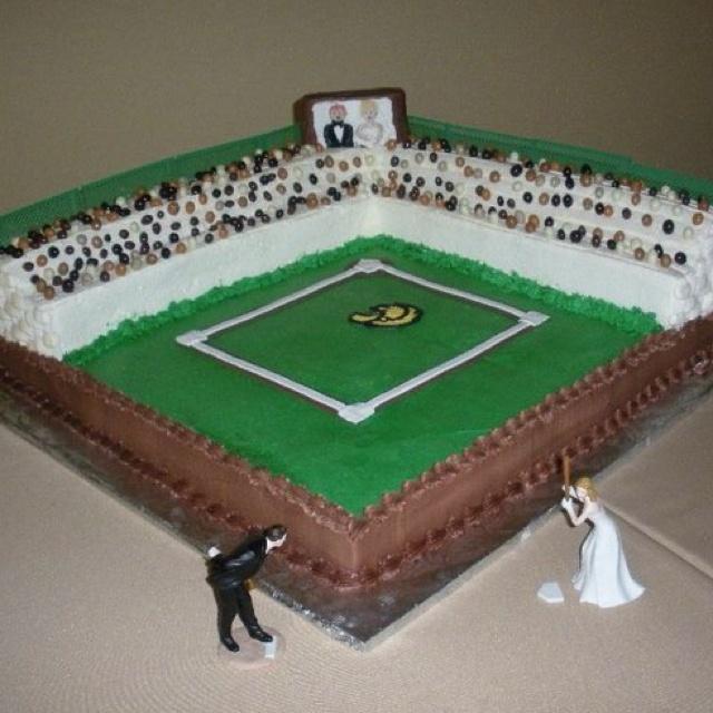 The perfect rehearsal dinner cake for the baseball-crazed couple!