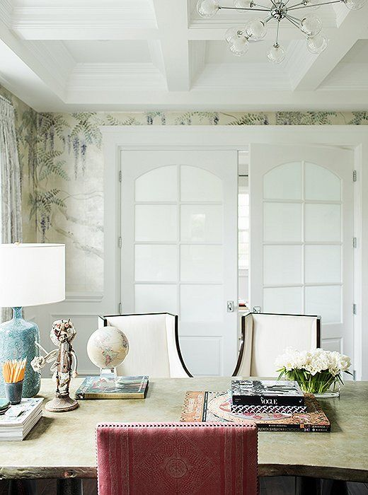 Tour Fashion Designer Rachel Roys Elegant Home Office With Hand Painted De Gournay Wallpaper Via