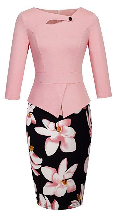 HOMEYEE Women's Elegant Chic Bodycon Formal Dress B288 (S, A-Light Pink)