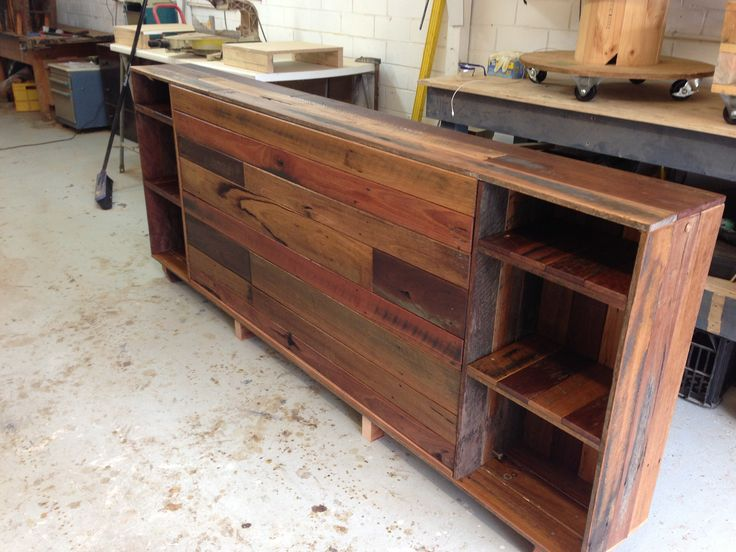 Recycled hardwood timber bedhead with clear varnish.