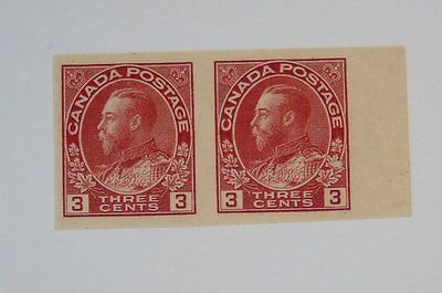 Stamp Pickers Canada 1924 KGV Admiral Imperf Pair Scott #138 MNH VF $150+