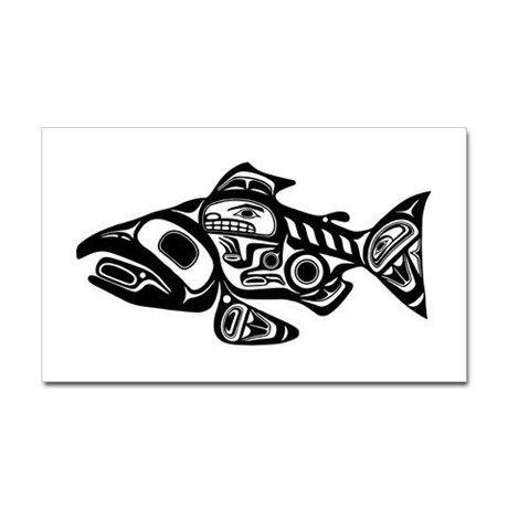 Native American Salmon Sticker (Rectangle) Salmon Native
