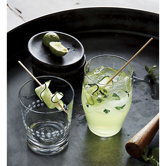 skewered cucumber garnish
