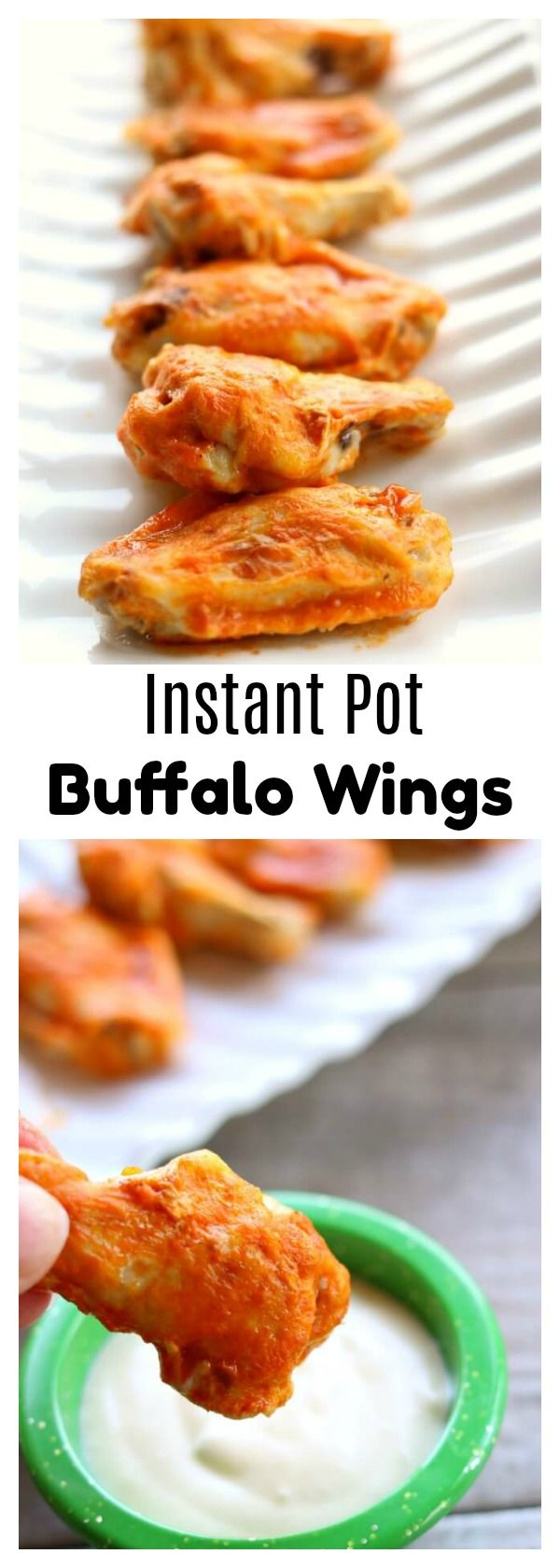 Instant Pot Buffalo Wings–throw a bag of frozen chicken wings in your electric pressure cooker and cook for just 4 minutes, baste with delicious buffalo wing sauce and broil in your oven for another few minutes and you have super tender and flavorful wings. #instantpot #instapot