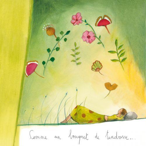 """Anne-Sophie Rutsaert carte postale carrée (14 cm) """"Comme un bouquet de tendresse"""""""