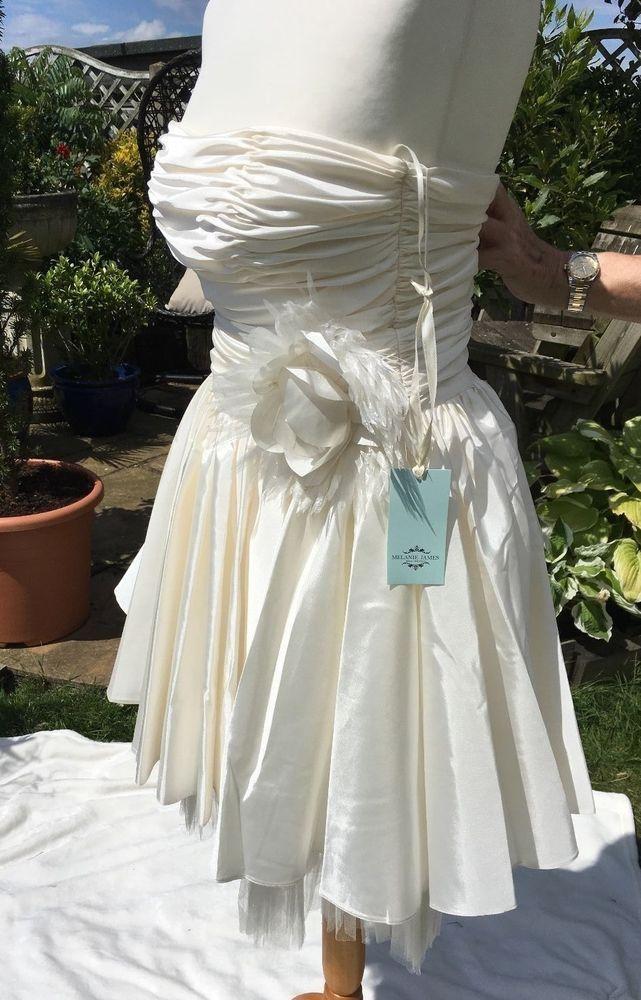 CECE FASHION DESIGNER SHORT WEDDING DRESS UK SIZE 8/10 IVORY STORE PRICE £489