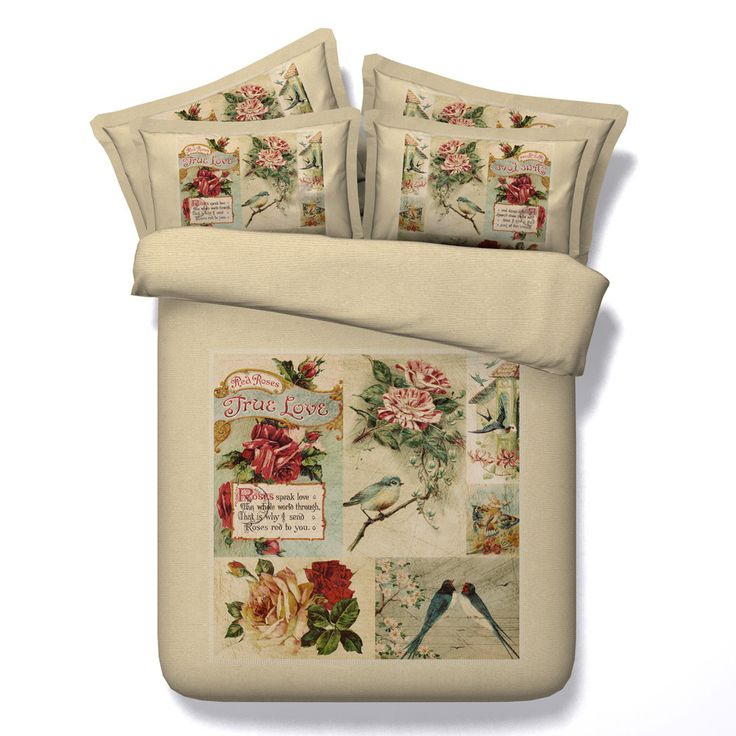 vintage style bird and flower printed 4 piece duvet cover set bedding sets bed sheets bedspreads twin queen super king size