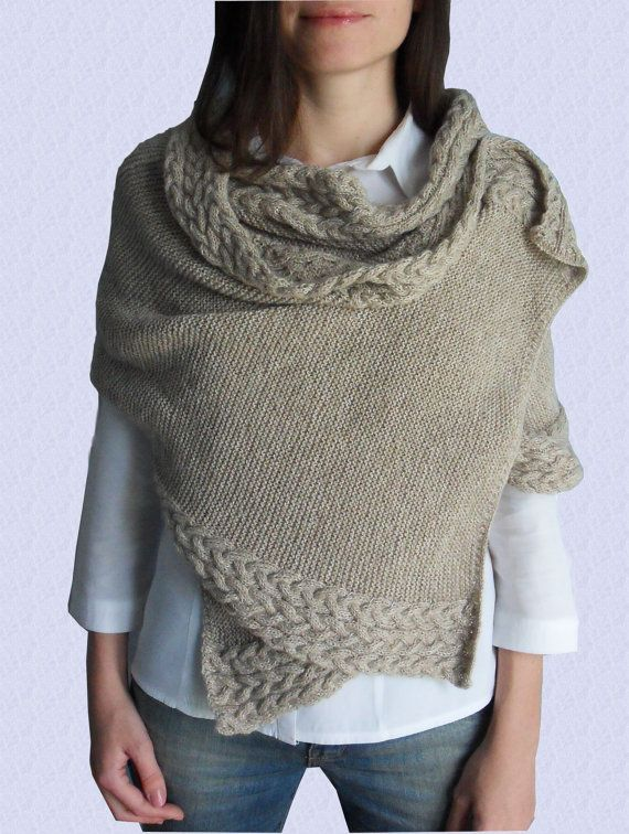 Hand knitted shawl - knitted long scarf - cable knitted scarf - shoulder wrap...