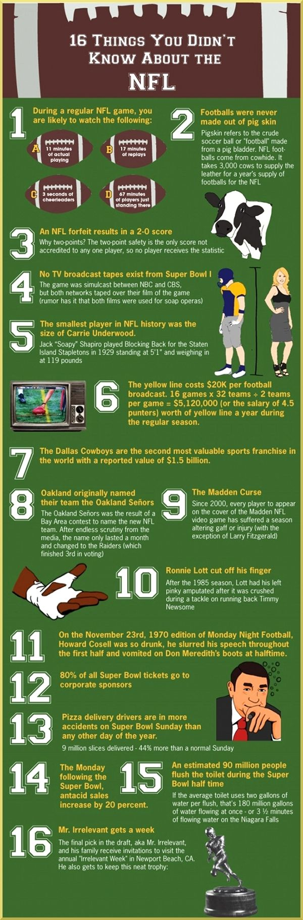 For football season, 11 fun facts about the NFL @ Pinfographics