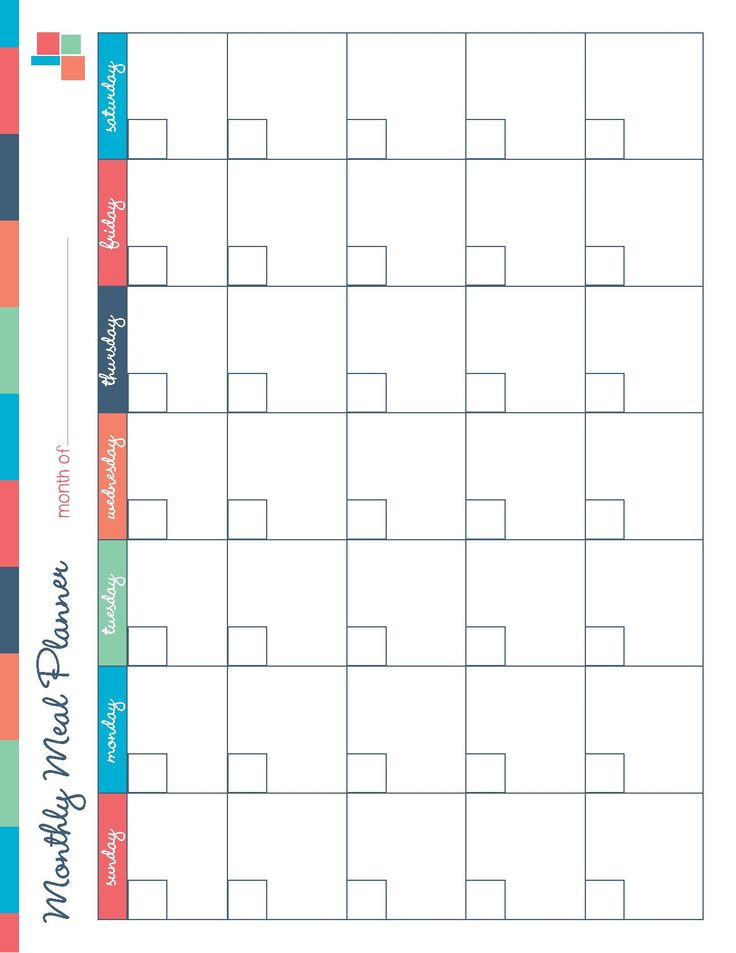 Monthly Meal Planning Free Printable - Free Printable Meal Planner Kitchen Set