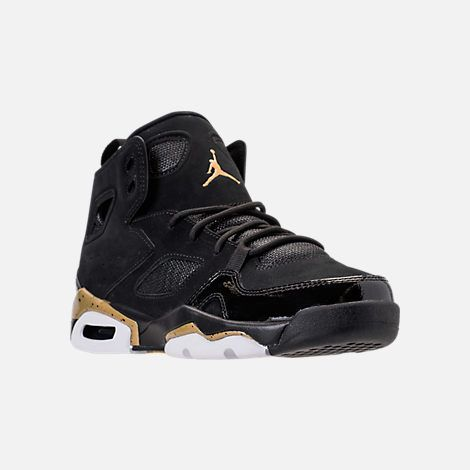 Three Quarter view of Boys  Grade School Air Jordan Flight Club  91  Basketball Shoes in Black Metallic Gold White 396b252c6